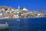 Greek Islands, SYMI, town with hillside church, view from sea, GIS428JPL