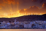 Greek Islands, SYROS, dusk view (from sea) over Ermoupolis (Syros town), GIS587JPL