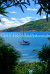 Grenadines, PETIT ST VINCENT, view from island and yacht at sea, GR103JPL