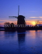 HOLLAND, Amstel River, sunset and windmill silhouette, HOL511JPL
