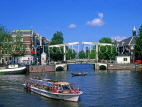 HOLLAND, Amsterdam, Amstel River, sightseeing boat and bridge, HOL503JPL