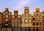 HOLLAND, Amsterdam, canalside gabled architecutre, buildings, HOL664JPL