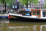 HOLLAND, Amsterdam, canlaside and houseboat, HOL840JPL