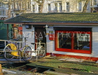 HOLLAND, Amsterdam, houseboat and parked bicycle, HOL739JPL
