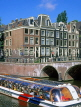 HOLLAND, Amsterdam, sightseeing boat  and old Dutch houses, HOL516JPL