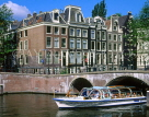 HOLLAND, Amsterdam, sightseeing boat  and olf Dutch houses, HOL506JPL