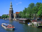 HOLLAND, Amsterdam, sightseeing boat and Montelbaarnstoren Tower, HOL509JPL