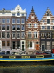 HOLLAND, Amsterdam, typical gabled architecture and houseboat, HOL661JPL