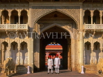 INDIA, Rajasthan, JAIPUR, City Palace complex and museum guards, IND1304JPL
