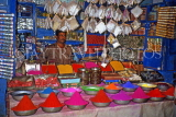 INDIA, Rajasthan, JAIPUR, market stall, powders and dyes (used in festivals), IND1340JPL