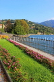 ITALY, Lombardy, COMO, Lake Como, lakeside view and promenade, ITL2144JPL