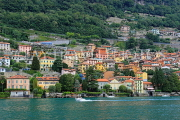 ITALY, Lombardy, LAKE COMO, lakeside scenery, and hillside houses, ITL2299JPL