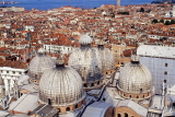 Italy, VENICE, St Mark's Basilica (San Marco) domes and city rooftops, ITL1838JPL