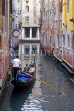 Italy, VENICE, Venetian architecture, narrow canal and gondola, ITL1849JPL