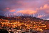 MADEIRA, Funchal, sunset lighting up town and hills, MAD119JPL