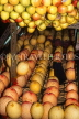 MADEIRA, Funchal Market, fruit stall, with apples and melons, MAD164JPL
