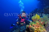 MALDIVE ISLANDS, Coral reef and diver, MAL597JPL