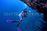 MALDIVE ISLANDS, Coral reef and diver by wreck, MAL598JPL