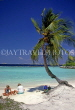 MALDIVE ISLANDS, beach with two tourists and coconut tree, MAL678JPL