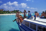 MALDIVE ISLANDS, boat with tourists on day trip, MAL09JPL