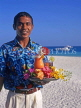 MALDIVE ISLANDS, waiter with cocktails on tray, on beach, MAL525JPL