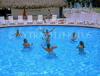 MEXICO, Yucatan, Playa Del Carmen, holidaymakers playing Water Polo in pool, MEX256JPL