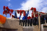 MOROCCO, Marrakesh, Medina (old town), coloured wool hung up to dry, MOR98JPL