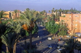 MOROCCO, Marrakesh, New Town street scene and palm trees, MOR170JPL