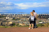 SCOTLAND, Edinburgh, Calton Hill, view towards Leith & Firth of Forth, and couple, SCO878JPL