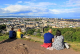 SCOTLAND, Edinburgh, Calton Hill, view towards Leith & Firth of Forth, and couples, SCO875JPL