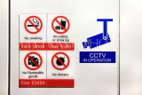 SINGAPORE, MRT train station, sign showing prohibited items, SIN1375JPL