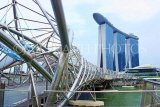 SINGAPORE, Marina Bay, Helix Bridge, and Marina Bay Sands Hotel, SIN1133JPL