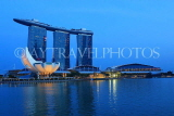 SINGAPORE, Marina Bay, Marina Bay Sands Hotel and ArtScience Museum, night view, SIN1136JPL