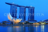 SINGAPORE, Marina Bay, Marina Bay Sands Hotel and ArtScience Museum, night view, SIN1137JPL