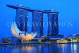 SINGAPORE, Marina Bay, Marina Bay Sands Hotel and ArtScience Museum, night view, SIN1138JPL
