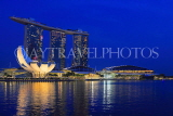 SINGAPORE, Marina Bay, Marina Bay Sands Hotel and ArtScience Museum, night view, SIN1141JPL