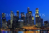 SINGAPORE, Marina Bay, and Singapore skyline, at night, SIN1388JPL
