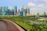 SINGAPORE, Marina Bay promenade, lily pond, and Singapore skyline, SIN1283JPL