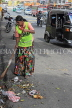 SRI LANKA, Kandy, town centre, road sweeper with traditional broom, SLK3659JPL
