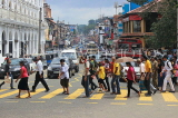SRI LANKA, Kandy, town centre, traffic, and people crossing the road, SLK3840JPL