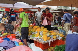 SRI LANKA, Negombo, market, fruit and vegetable market, vendors and shoppers, Papaya stall, SLK2676JPL