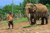 SRI LANKA, Pinnewala Elephant Orphanage, elephant and mahout, SLK2375JPL