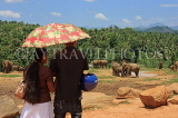 SRI LANKA, Pinnewala Elephant Orphanage, visiting couple at site, SLK2409JPL