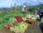 SRI LANKA, hill country, Nuwara Eliya, roadside vegetable stall and tea plantations, SLK1572JPL
