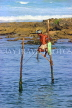 SRI LANKA, south coast, Ahangama area, Stilt Fisherman, SLK4767JPL