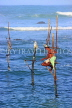 SRI LANKA, south coast, Ahangama area, Stilt Fisherman, SLK4771JPL