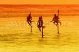 SRI LANKA, south coast, Ahangama area, Stilt Fishermen, dusk, sunset view, SLK4692JPL