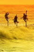 SRI LANKA, south coast, Ahangama area, Stilt Fishermen, dusk, sunset view, SLK4695JPL