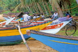 SRI LANKA, south coast, Ambalangoda, fishing boats and fishermen relaxings, SLK1974JPL