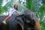 SRI LANKA, south coast, Bentota, child enjoying elephant ride, SLK1757JPL